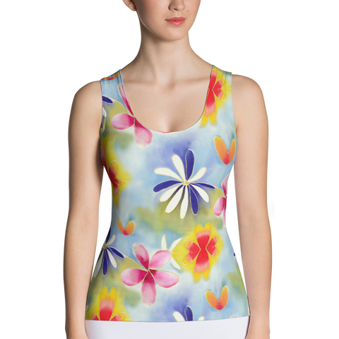 Sunrise Floral Fitted Tank Top Front