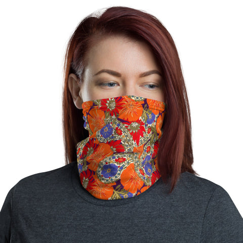 Face Mask Mock Turtle Neck Orange Paisley Floral