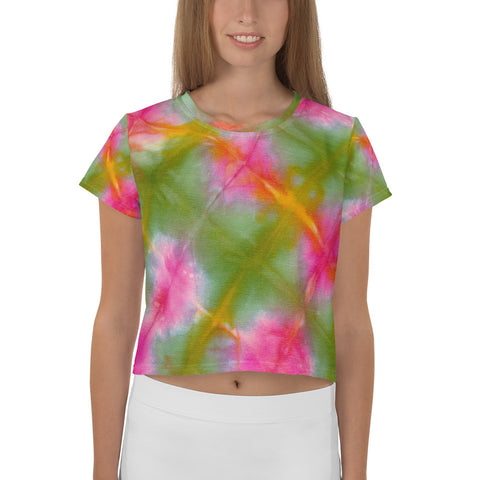 All-Over Green&Pink Tie Dye Crop Tee