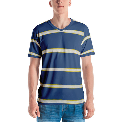 Blue Yellow WhiteStripe Men's T-shirt
