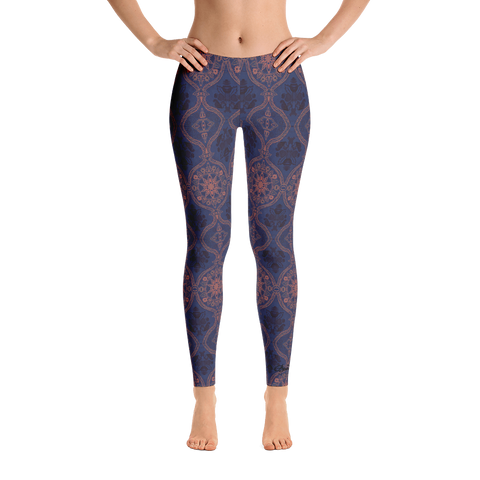 Sargasso Blue and Mellow Rose Damask Leggings