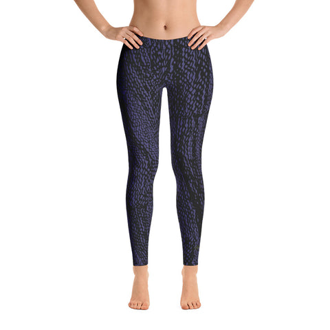 Navy and Black Tire Scribble Leggings