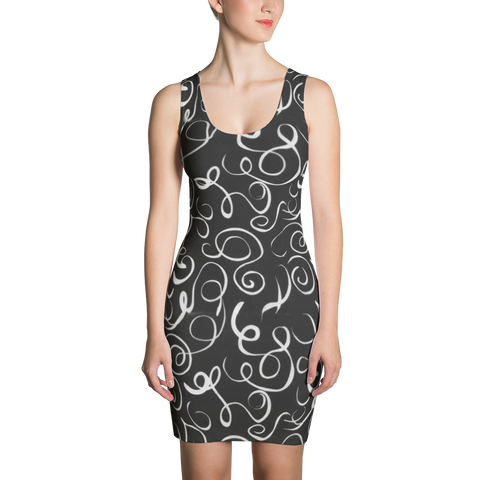 B&W Squiggles Fitted Dress