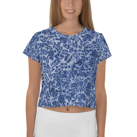 Blue Sixties Paisley Fitted All-Over Print Crop Tee