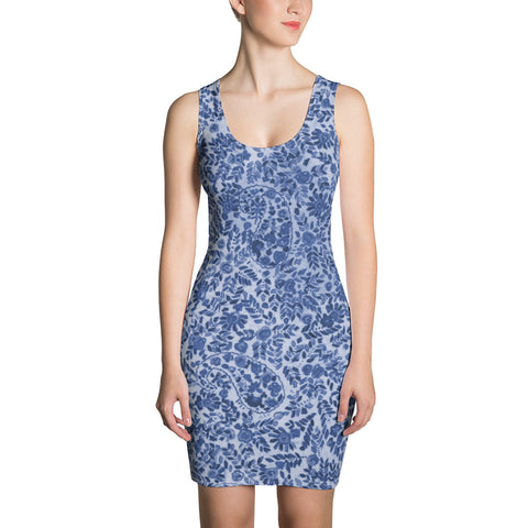 Blue Sixties Paisley Fitted Dress