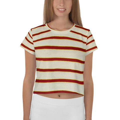 Red White Stripe All-Over Print Crop Tee