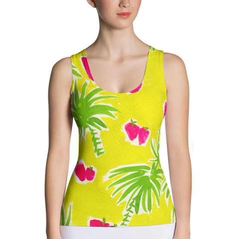 Strawberry Tropic Fitted Tank Top Front