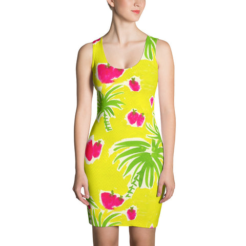 Strawberry Tropic Fitted Dress