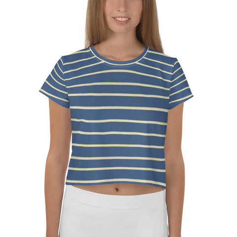 Blue Yellow White Stripe All-Over Print Crop Tee