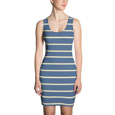Blue Yellow White Stripe Fitted Dress