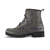 Not Quite Paisley Metal and Bright Sea Blue Leather Boots (Vegan)