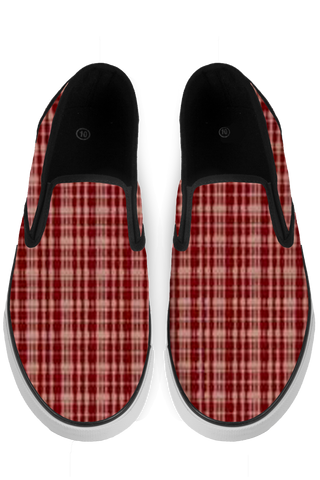 Maroon Black Slip On Sneakers - x