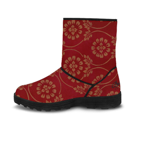 Faux Fur Red Pear and Almond Buff coloured Turkish Tapestry Boots