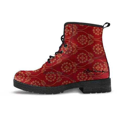 Red Pear and Almond Buff coloured Turkish Tapestry Leather Boots (Vegan)