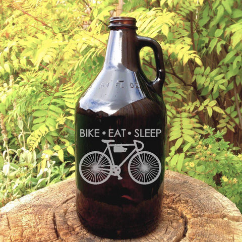 The Rider - Bike Eat Sleep Glass Growler - North City Growlers