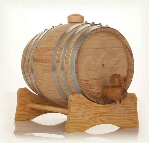 1L Oak Barrel with Stand, Spigot and Bung