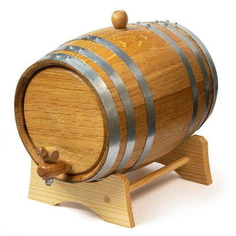 2L Oak Barrel with Stand, Spigot and Bung