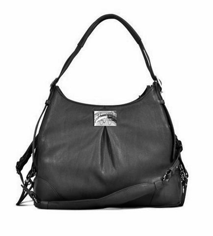 Michele Mia - Sadie - Black Faux Pebble Leather Carry Bag