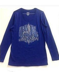 Long Sleeve Blue Bling CA Top