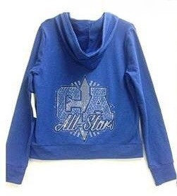 Blue Bling Zip Up Hoody