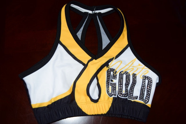 White Gold Team Sports Bra