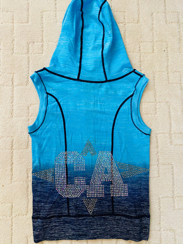 Ocean blue bling zip up vest