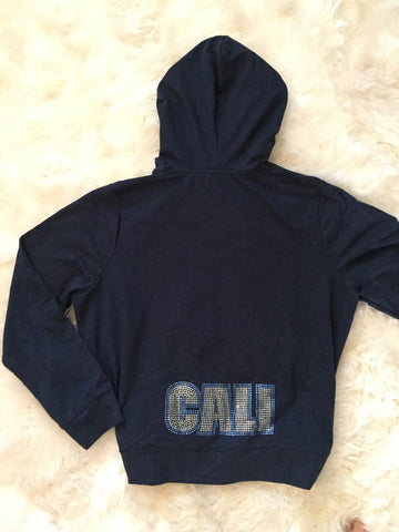Midnight Blue Rhinestone CALI Zip Up