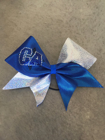 CA Blue and Silver Metallic Bow