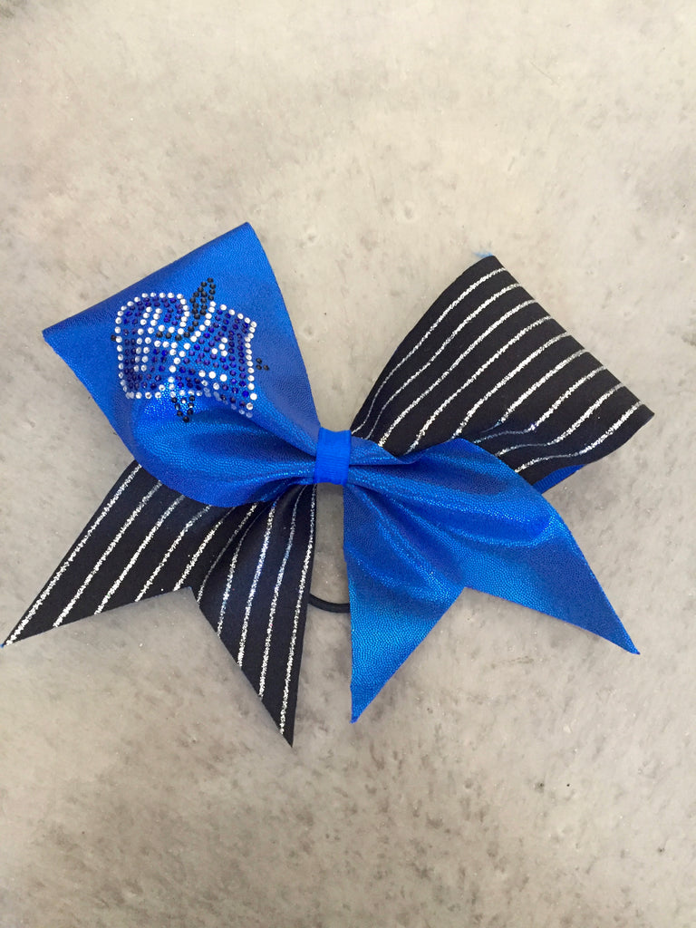 CA Bling Blue and Black Metallic Stripe Bow