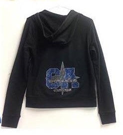 CA Logo Black Bling Zip Up Hoody