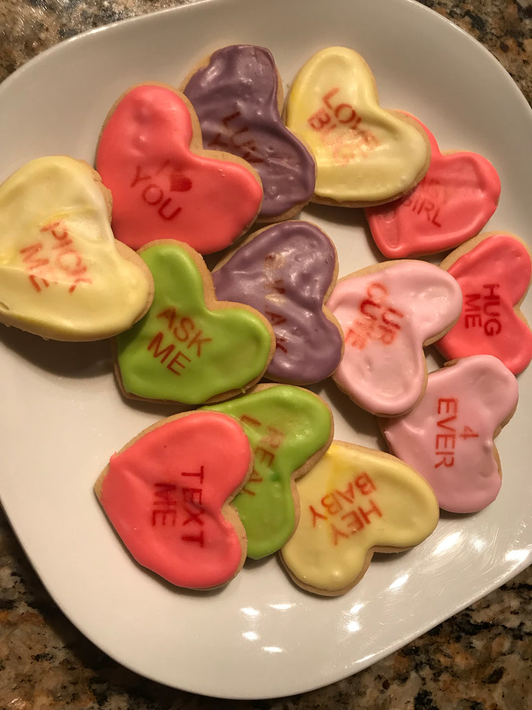 Holiday Decorated Cutout Mini Heart Cookies Set 2