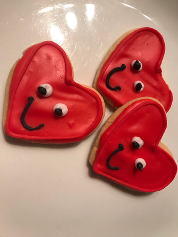 Holiday Decorated Cutout Mini Heart Cookies Set 1