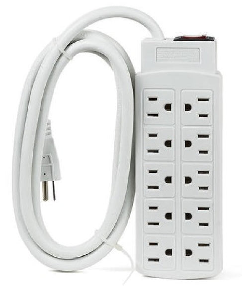 10 Outlets 450J Surge Protector Power Strip, 2m (6.56ft) Heavy-Duty Cord - White, Surge Protectors, Power Strips, TGCP - TiGuyCo Plus