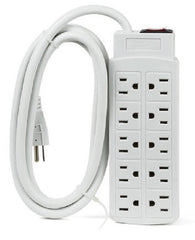 10 Outlets 450J Surge Protector Power Strip, 2m (6.56ft) Heavy-Duty Cord - White