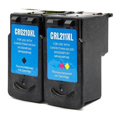 Compatible with Canon PG-210XL Black / CL-211XL Color Remanufactured Ink Cartridges - Combo Pack