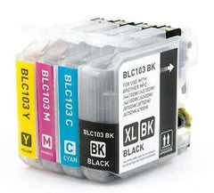 Compatible with Brother LC103XL (BK/C/M/Y) New Compatible Ink Cartridge HY Combo Pack - Latest Chip