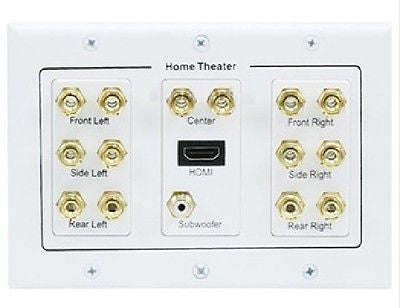 3-Gang 7.1 Surround Sound Distribution Wallplate with HDMI, Video Cables & Interconnects, TechCraft - TiGuyCo Plus