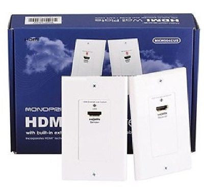 HDMI Wall Plate (Pair) Over CAT5E / CAT6 with Built-in Extender - Single Port, Video Cables & Interconnects, Monoprice - TiGuyCo Plus