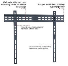 TC - 37-65in Ultra-Slim Low Profile TV Wall Mount - VESA 650mm x 400mm - Hold up to 132lbs (60kgs) - Black