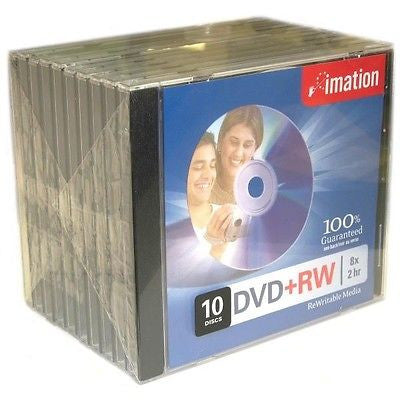 imation DVD+RW 8x - 2 hr ReWritable Media - 10 Discs with Jewel Case, CD, DVD & Blu-ray Discs, Imation - TiGuyCo Plus