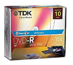 TDK DVD-R Print-On White Discs - 16X - 4.7GB - 10 Pk with Jewel Cases