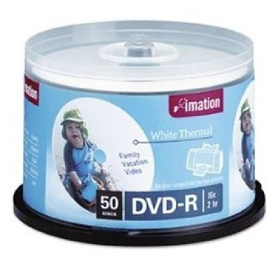 photograph regarding Printable Dvd Discs called IMATION Thermal Printable DVD-R Discs 4.7GB 16x Spindle - White - 50 Pack