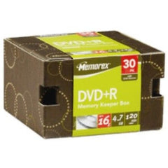 Memorex DVD-R 16X 4.7GB in Memory Keeper Box w/Sleeves - 30Pk