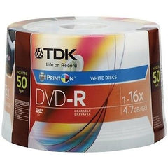 TDK Spindle of 50 White PrinOn DVDs