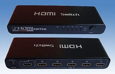 5x1 HDMI Switch - 5 Ports HDMI 1.4 Switch w-Remote Control, Splitters & Combiners, TiGuyCo Plus - TiGuyCo Plus