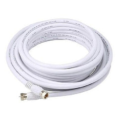 25 ft. White Quality CL2 Coaxial Cable - RG6 18AWG 75Ohm Quad Shield, F Type