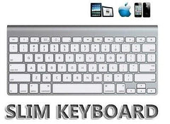 Multimedia Slim Wireless Bluetooth 2.4GHz Keyboard for iPad 2, 3, Android, PC and Laptop - White