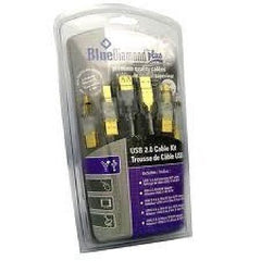 BlueDiamond USB 2.0 Cable Kit w/ 4 Adapters 6ft, Clear