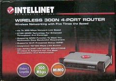 Intellinet Wireless 300N 4-Port Router - 300Mbps, MIMO, QoS, 4-Port 10/100 Mbps LAN Switch - 524490