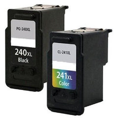 Compatible with Canon PG-240XL-CL-241XL - 1 Black + 1 Color Inkjet Remanufactured Ink Cartridges - Combo Pack